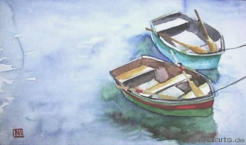 рисунки лодок акварелью